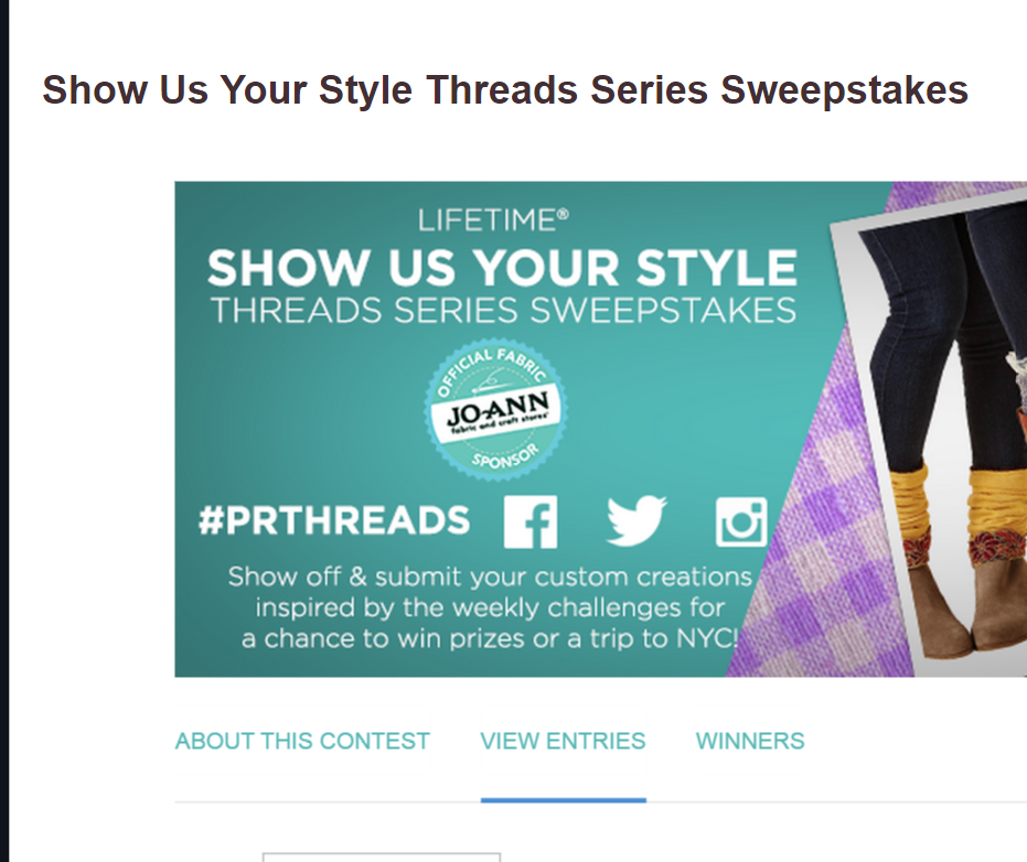 Lifetime Show us Your Style Sweepstakes