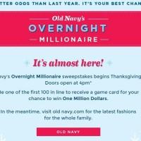 Old Navy Overnight Millionaire Sweepstakes