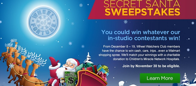 Wheel of Fortune Secret Santa Sweepstakes - Sweeps Maniac