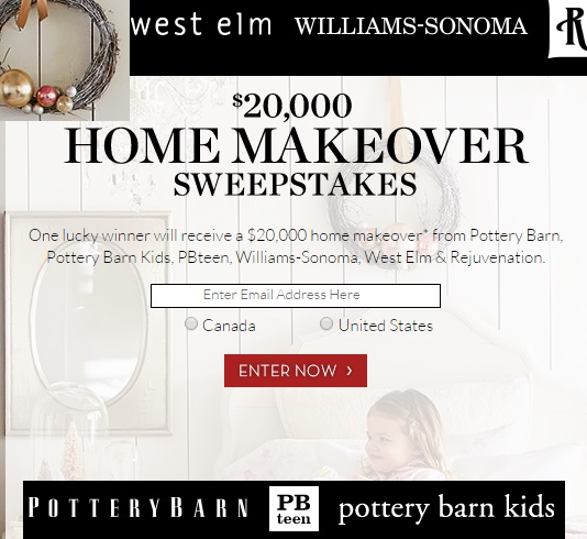 Pottery Barn $20K Home Makeover Sweepstakes
