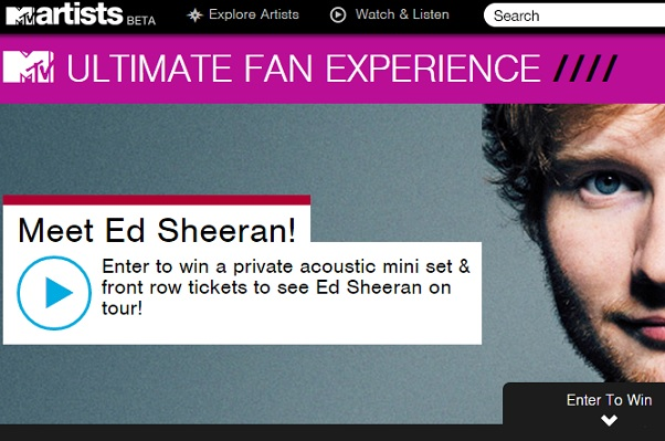 Mtv ultimate fan experience ed sheeran sweeps maniac mtv ultimate fan experience ed sheeran m4hsunfo