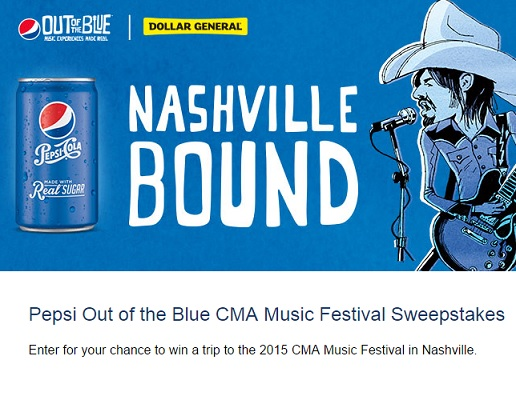 CMA Music Fesitval Sweepstakes Pepsi Out of the Blue - Sweeps Maniac
