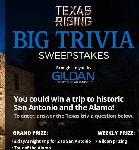 Texas Rising Big Trivia Sweepstakes History Channel - Sweeps Maniac