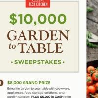 America's Test Kitchen $10k Garden to Table Sweepstakes