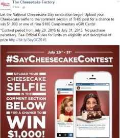 Cheesecake Factory #SayCheeseContest