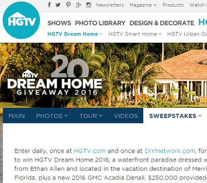 hgtv dream home giveaway 2016 sweeps maniac