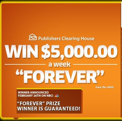 PCH $5 grand a week Forever Sweepstakes - Sweeps Maniac