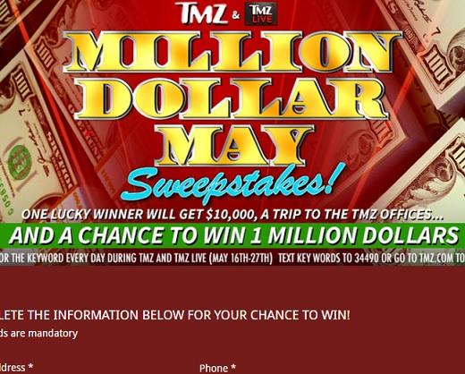 TMZ Million Dollar May Sweepstakes - Sweeps Maniac