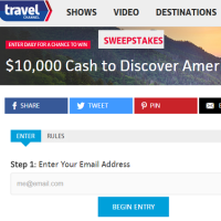 Travel Channel $10,000 Cash to Discover America Sweepstakes