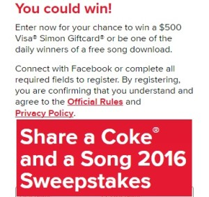 Share a Coke and a Song 2016 Sweepstakes