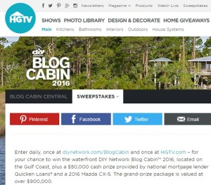 HGTV DIY Network blog Cabin 2016 Sweepstakes