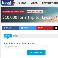 Travel Channel $10,000 for a trip to Hawaii