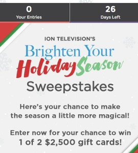 Ion Television's Brighten Your Holiday Season Sweepstakes