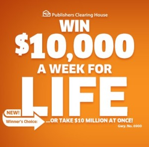 PCH Win $10000 a week for life sweepstakes