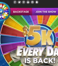 $5k Every Day Wheel of Fortune Sweepstakes 2017