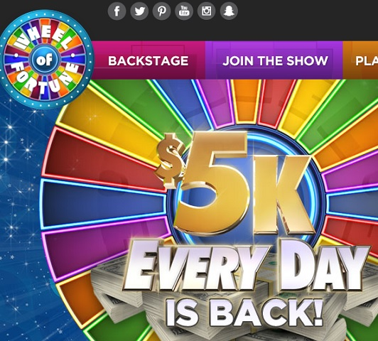 $5k Every Day Wheel of Fortune Sweepstakes 2017 - Sweeps Maniac