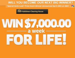 Publishers Clearing House Win $7000 a week for life - Sweeps Maniac