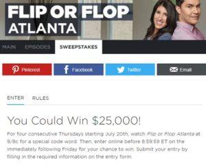 HGTV 25 Grand sweepstakes Flip or Flop Atlanta 2017