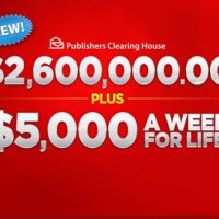 New! PCH Giveaway $2.6 million plus $5k a week