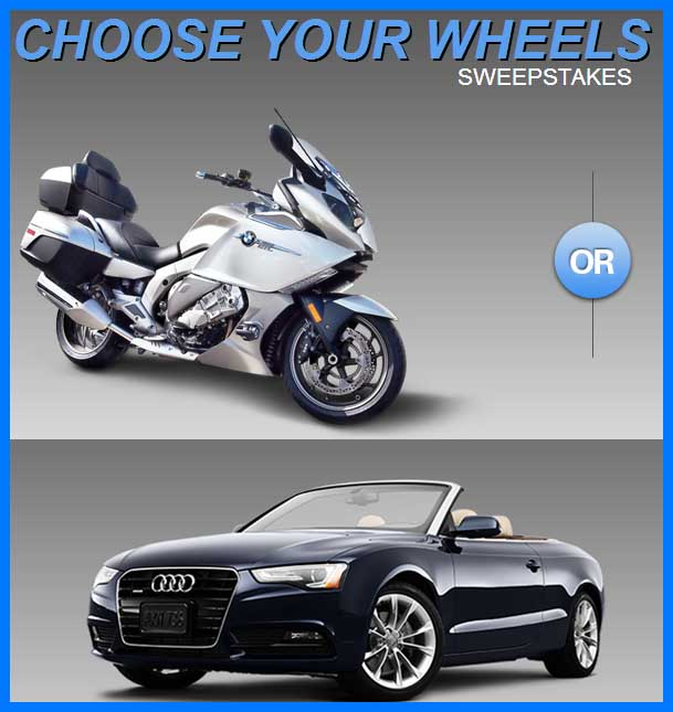 win an audi sweepstakes win an audi a5 or bmw motorcycle in the ebay choose you 500