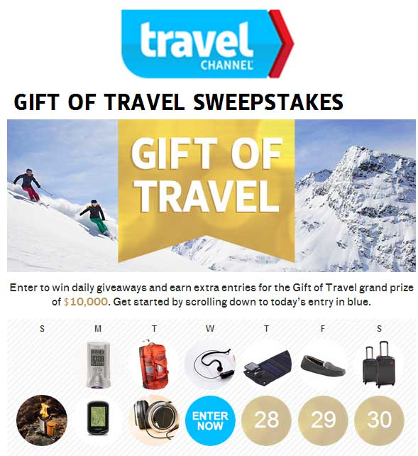 travel channel 10 000 sweepstakes gift of travel sweepstakes travel channel sweeps maniac 8970