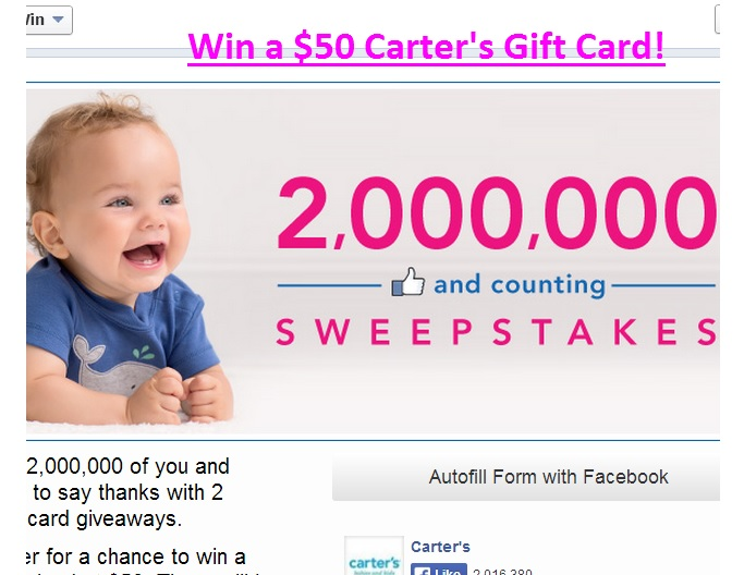 carters sweepstakes carter s sweepstakes 2 000 000 likes and counting sweeps 1148