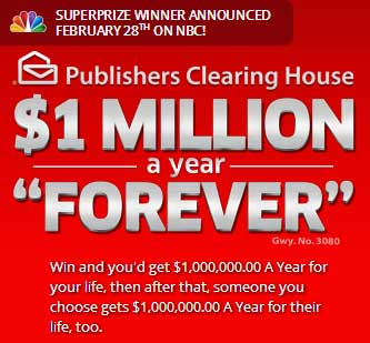 how do you enter publishers clearing house sweepstakes pch win 1 million a year forever sweepstakes sweeps maniac 1356