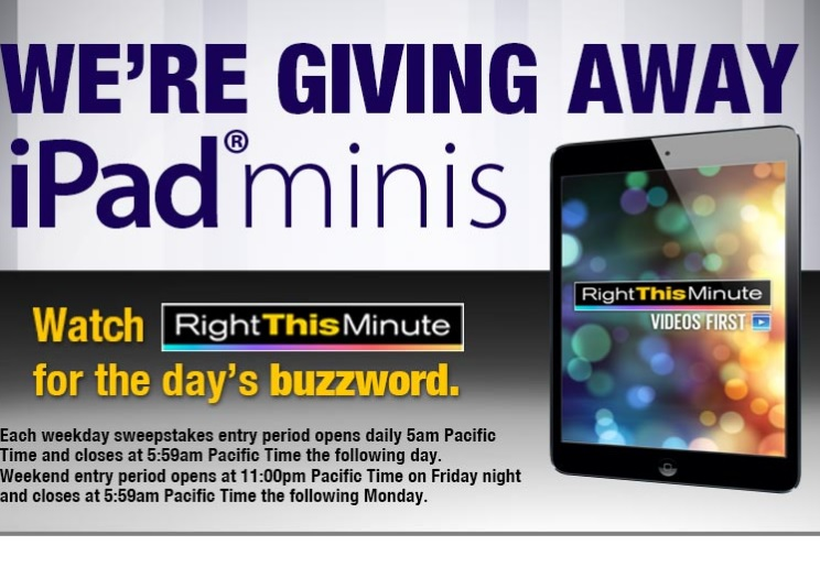 right this minute ipad mini giveaway right this minute twitter giveaway daily buzzwords 5866