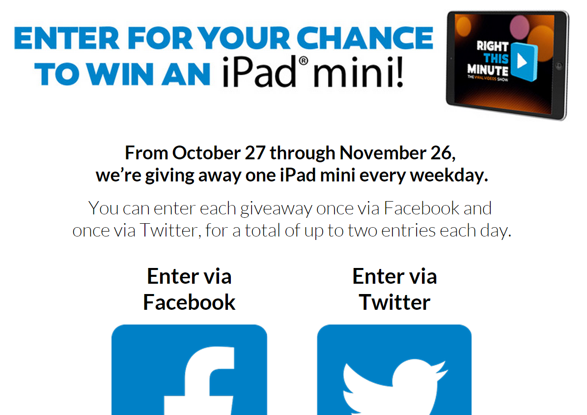 right this minute ipad mini giveaway right this minute daily buzzwords win ipad mini sweeps 2997