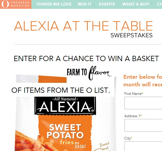 o magazine sweepstakes o magazine alexia at the table sweepstakes sweeps maniac 678