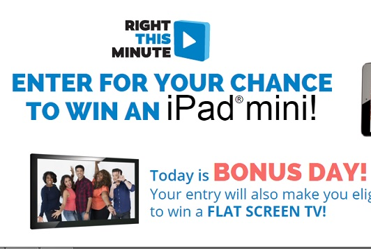 right this minute ipad mini giveaway right this minute ipad mini sweepstakes sweeps maniac 3357