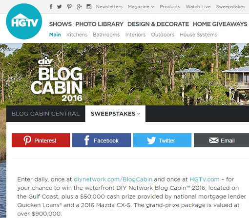 diy network sweepstakes blog cabin hgtv diy network blog cabin giveaway 2016 sweeps maniac 546