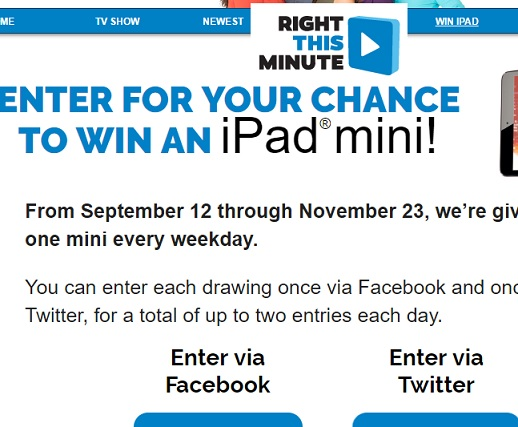 right this minute ipad mini giveaway right this minute win an ipad mini sweepstakes sweeps maniac 3207