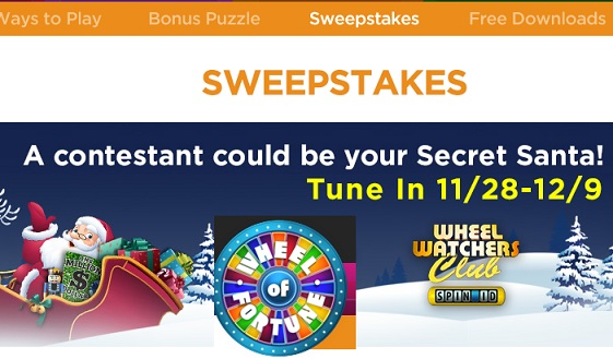 secret santa sweepstakes on wheel of fortune wheel of fortune secret santa sweepstakes 2016 sweeps maniac 2691